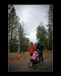 Madhavi, David and Caitlin Eby walking at Ananda Village