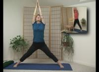Maitri demonstrating one of the yoga poses for the study participants
