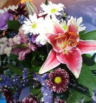 Flower arrangement on the stage
