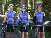 Koral, Panduranga and Bob during a 2008 ride near Donner Lake