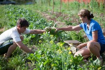 Jordan and Maria Working in the Garden
