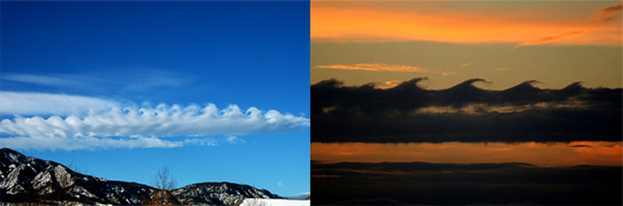 These crazy clouds that look like a row of crashing waves are known as Kelvin-Helmholz waves. They form when two layers of air or liquid of different densities move past each other at different speeds, creating shearing at the boundary. It could be like oil and vinegar. In the ocean, the top is warm and the bottom is really cold. It's like a thin layer of oil on a big puddle of water. When these two layers move past each other, a Kelvin-Helmholz instability is formed that is sort of like a wave. Parts of the boundary move up and parts move down. Because one layer is moving faster than the other, the shear causes the tops of the waves to move horizontally, forming what looks like an ocean wave crashing on the beach. It really is looks like a 'freeze-frame' of breaking waves. A wave breaks when the water on top moves so much faster than the water below that it kind of piles up on itself.
