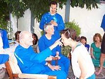 Swami Kriyananda blesses a devotee