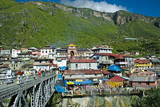Sacred site of Badrinath in India.