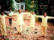 Ananda monks energizing in the 1970's.