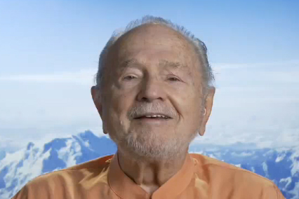 Swami Kriyananda smiling during a YouTube show on the Essence of the Bhagavad Gita