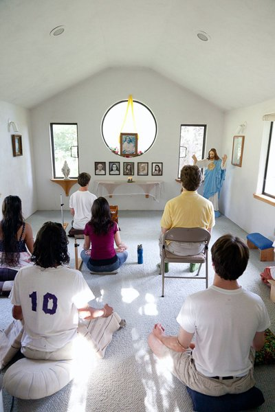 A recent meditation with young adults at Ananda Village