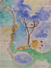 A playful, almost childlike style of painting; a nature scene with the sun, a bird, a pond, flowers, and trees