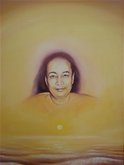 An oil painting on canvas: Yogananda's portrait, the last smile, overlayed on a sunset over the ocean