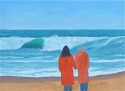 Oil on canvas: Yogananda and Kriyananda standing on the beach and gazing at the horizon line of the ocean