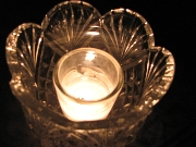 Votive candle in flower-like glass