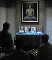 The monks meditating in the Babaji Cave