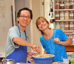 Two joyful souls in the kitchen of the Ananda Meditation Retreat